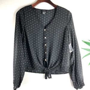 NEW Justify polka knot front blouse  size S black